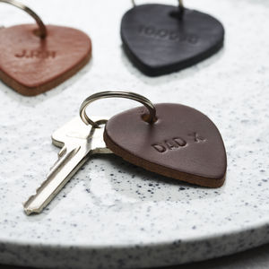 Personalised Leather Plectrum Keyring - music-lover
