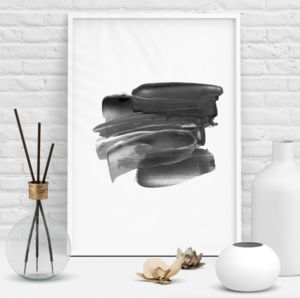 Abstract Lipstick Smear Black And White Print - new in prints & art