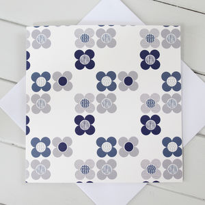 Mod Flowers Blank Greetings Card