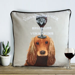 Cocker Spaniel Cushion, Dog Au Vin Wine Gift - cushions