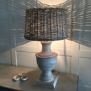 Delicate Pale Grey Wash Wooden Lamp And Wicker Shade