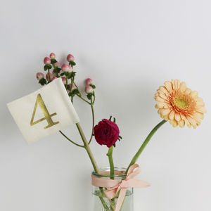 Gold Print Table Number Flags