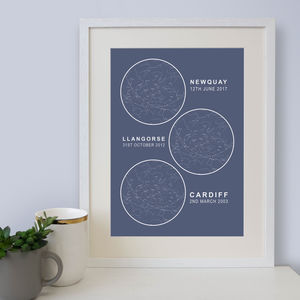 Personalised Multiple Map Of The Stars Print - dates & special occasions