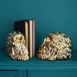 Gold Skull Bookends - bookends