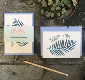 Thank You Card Set Palm Print