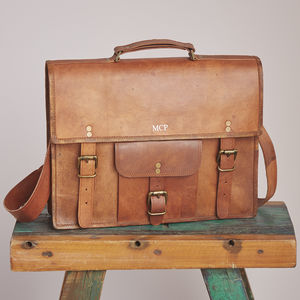 Personalised Vintage Leather Satchel / Laptop Bag - summer sale