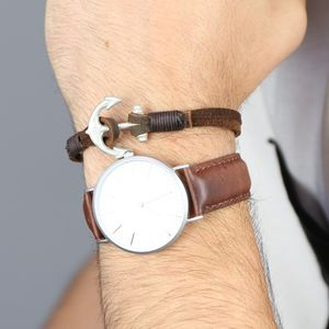 Men's Leather Bracelet With Antiqued Anchor Clasp - bracelets