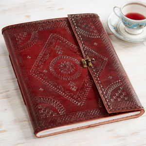 Handmade Indra Xl Embossed Stitch Leather Photo Album - albums & guest books