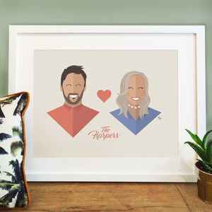 Personalised Couple Portrait Print - engagement gifts