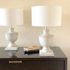 Wooden Urn Table Lamp And Shade