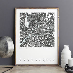 Manchester Map Art Print Limited Edition