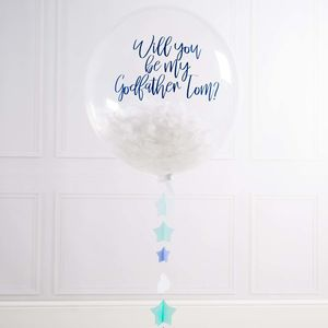 Personalised Godfather Feather Filled Balloon - be my godparent?