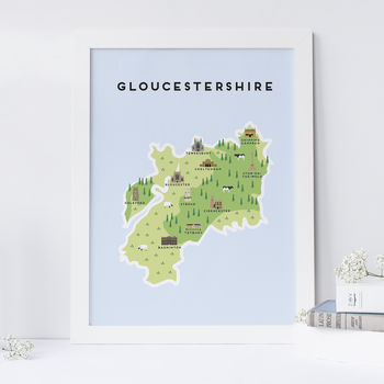 Map Of Gloucestershire Print