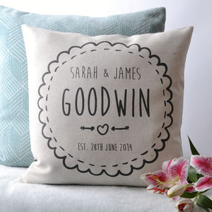 Personalised Couple Cushion Cover - wedding gifts