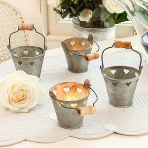 Six Wedding Decoration Heart Tealight Holders