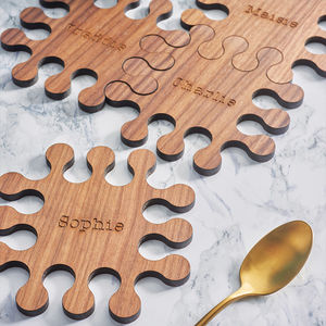 Personalised Walnut Jigsaw Coasters - tableware