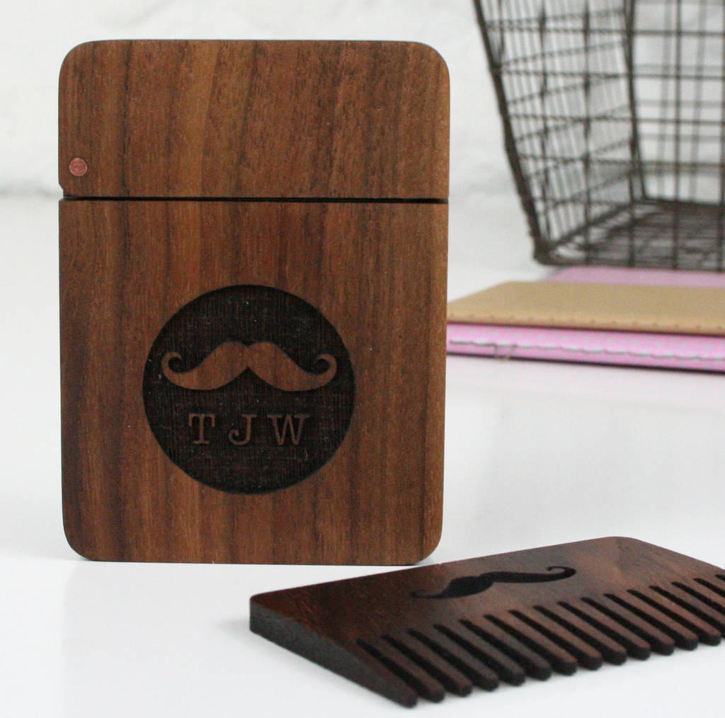 Solid Walnut And Copper Beard Moustache Comb And Box