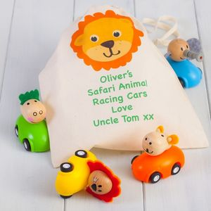 Four Racing Animals Pull Back Cars And Personalised Bag - personalised