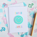 Spearmint Acrylic Love Heart Valentine's Card