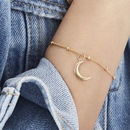 Crescent Moon Charm Bracelet In Silver, Gold Or Rose