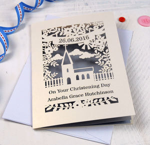 Personalised Papercut Floral Christening Card - christening cards