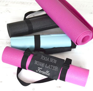Yoga Now, Wine Later Personalised Yoga Mat - yoga