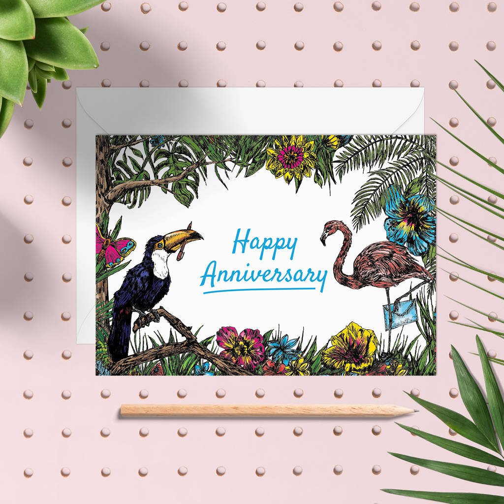 Tropical Happy Anniversary Greeting Card By Fawn Thistle