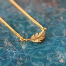 Gold Plated Leaf Charm Necklace