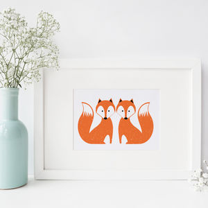 Foxy Fox A4 Art Print - baby's room