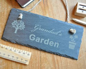 Personalised Garden Slate Sign - gifts for grandfathers