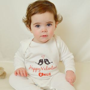 Valentines Day Personalised Love Birds Baby Grow - new in baby & child
