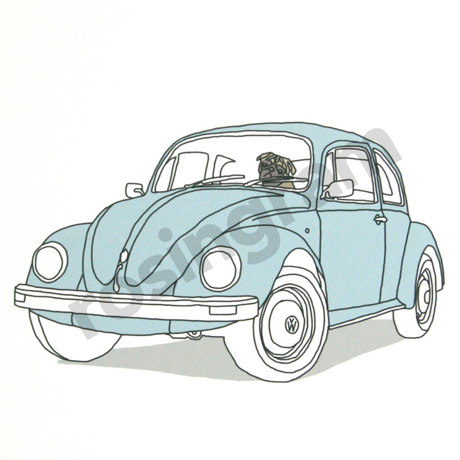 'Pug In A Bug' Beetle Print