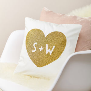Personalised Glitter Heart And Initial Couple Cushion