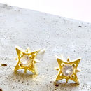 Moonstone Star Gold Stud Earrings