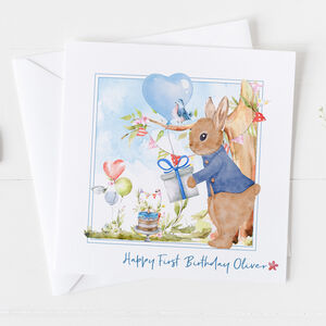 Baby's First Birthday Card Rabbit