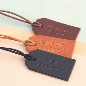 Personalised Handstamped Leather Luggage Tag