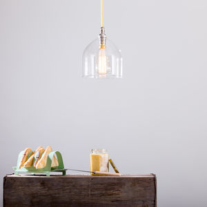 Frieda Frilled Clear Pendant - bedroom