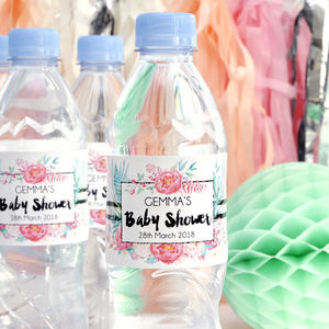 Personalised Baby Shower Floral Bottle Labels