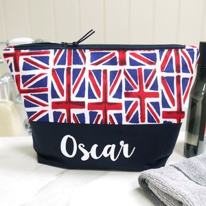 Personalised Union Jack Wash Bag