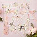 Rose Gold Floral Hen Party Photo Booth Props