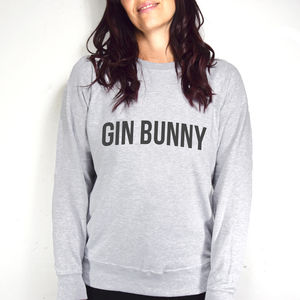 Typographic 'Gin Bunny' Women's Sweatshirt - women's fashion