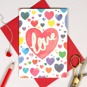 Personalised Watercolour Heart Valentine's Card - winter sale