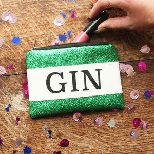 Personalised Gin Lovers Glitter Coin Purse Gift - purses & wallets