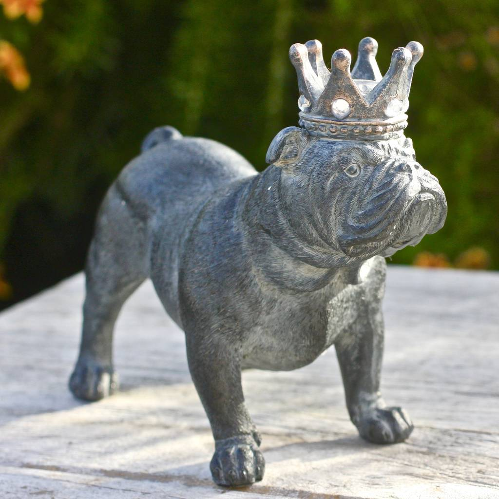 Bulldog With Crown Sculpture By London Garden Trading Notonthehighstreet Com