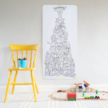 Penguin Tower Christmas Tree Colouring Poster