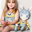 Large Doll And Doll's Dress Kit In Teal Blue