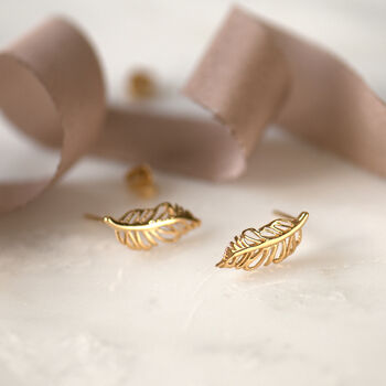 Dancing Feather Gold And Rose Gold Stud Earrings