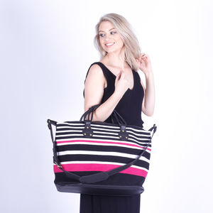 Overnight Bag, Ethically Made Weave With Leather Trims - womens