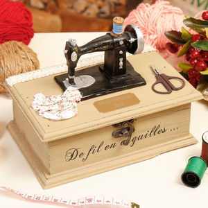 Personalised Vintage Singer Sewing Storage Box - boxes, trunks & crates