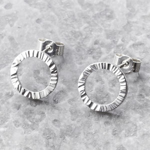 Circle Hammered Stud Earrings - earrings
